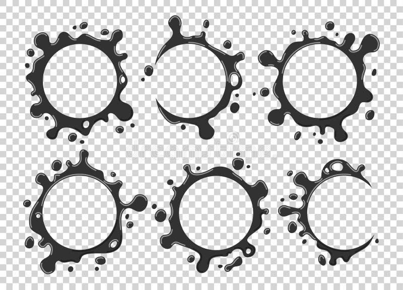 Καθορισμένες ετικέτες παφλασμών και λεκέδων γάλακτος σε ένα μπλε υπόβαθρο επίσης corel σύρετε το διάνυσμα απεικόνισης ελεύθερη απεικόνιση δικαιώματος
