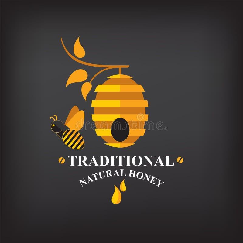 Καθορισμένες διακριτικά και ετικέτες μελιού Αφηρημένο σχέδιο μελισσών ελεύθερη απεικόνιση δικαιώματος