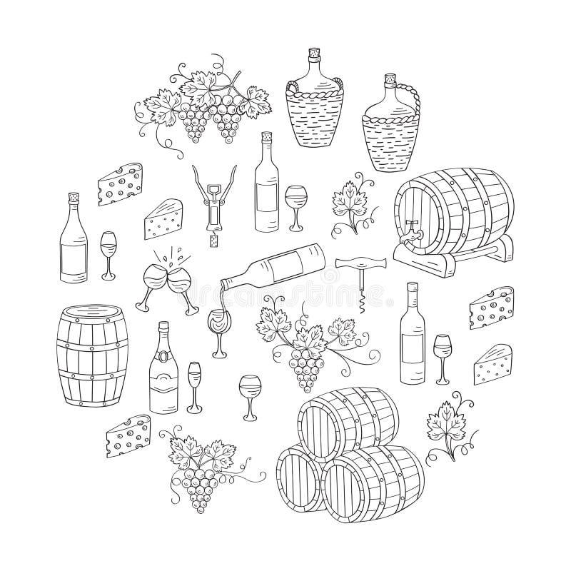 Καθορισμένες διανυσματικές απεικονίσεις κρασιού και κατασκευής κρασιού διανυσματική απεικόνιση