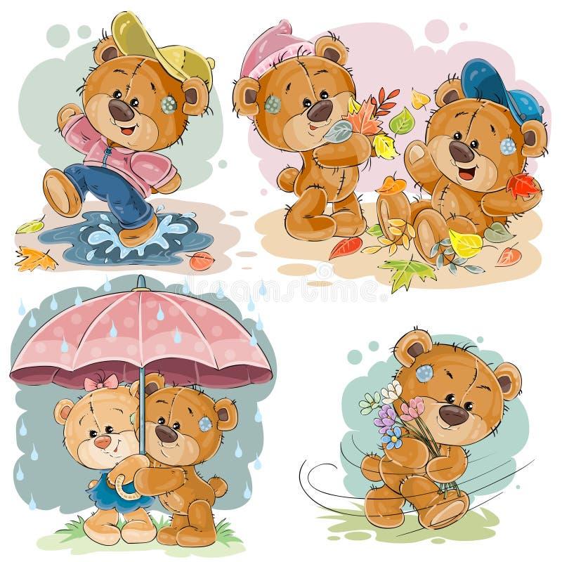 Καθορισμένες διανυσματικές απεικονίσεις τέχνης συνδετήρων των αστείων teddy αρκούδων ελεύθερη απεικόνιση δικαιώματος