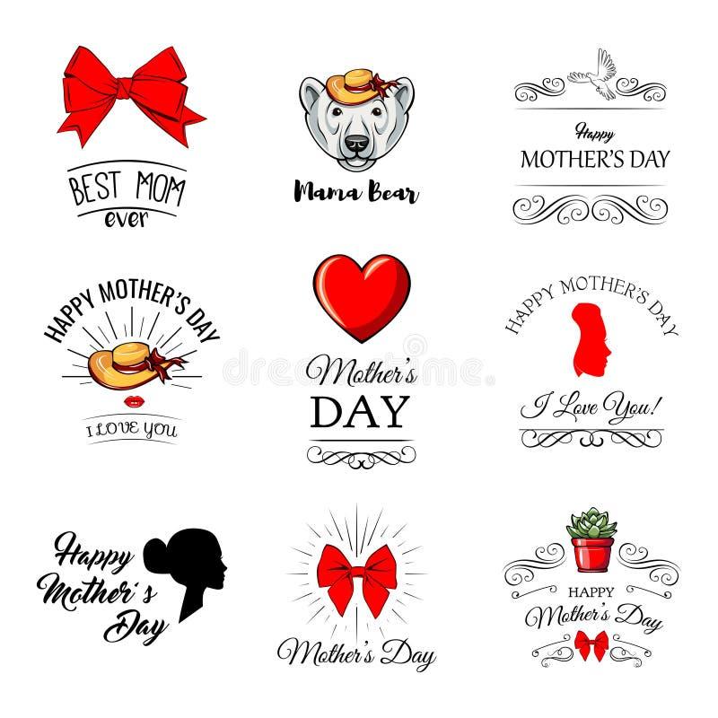 Καθορισμένες κάρτες στην ευτυχή ημέρα μητέρων s Καλλιγραφία και εγγραφή επίσης corel σύρετε το διάνυσμα απεικόνισης απεικόνιση αποθεμάτων