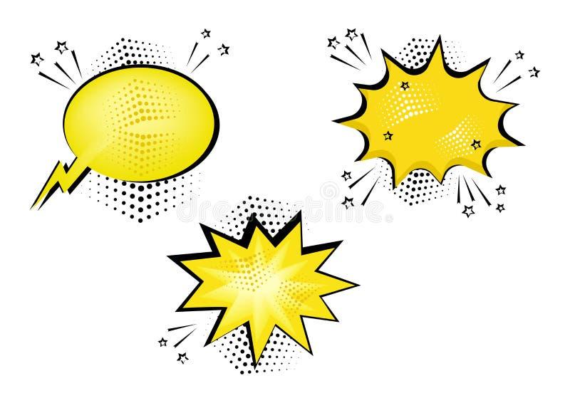 Καθορισμένες κίτρινες κωμικές φυσαλίδες για το κείμενό σας Κωμικά υγιή αποτελέσματα στο λαϊκό ύφος τέχνης r διανυσματική απεικόνιση