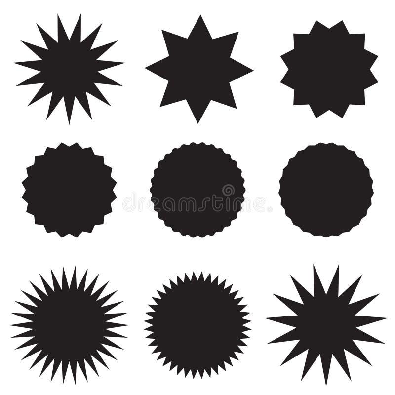 Καθορισμένες μαύρες τιμές στο άσπρο υπόβαθρο μαύρη αυτοκόλλητη ετικέττα starburst, ετικέτες, και επίπεδο ύφος ηλιοφάνειας σημάδι  διανυσματική απεικόνιση