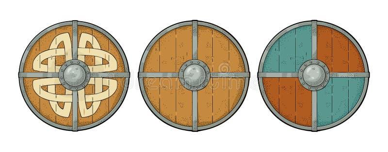 Καθορισμένες ξύλινες στρογγυλές ασπίδες με τους ρούνους Βίκινγκ, σύνορα σιδήρου χάραξη διανυσματική απεικόνιση