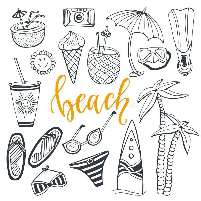 Καθορισμένες παραθαλάσσιες διακοπές θερινή εικονιδίων με την ιστιοσανίδα, μαγιό, φοίνικας, πτερύγια, κοκτέιλ, παγωτό, ποτό, γυαλι απεικόνιση αποθεμάτων
