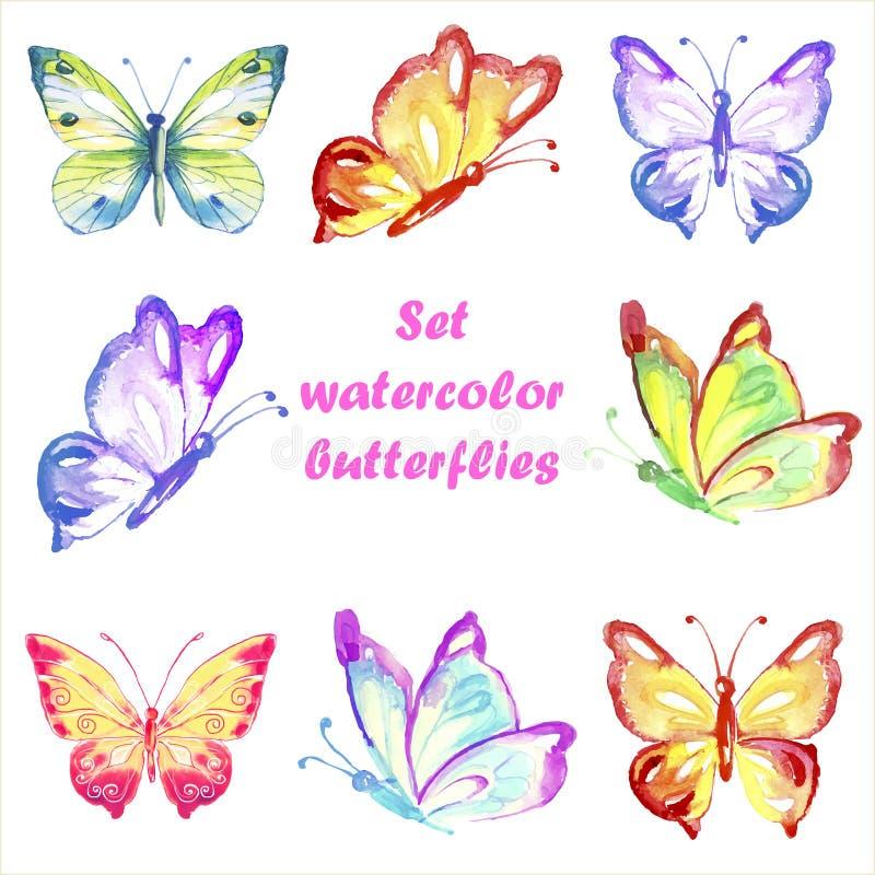 Καθορισμένες πολύχρωμες πεταλούδες watercolor ελεύθερη απεικόνιση δικαιώματος
