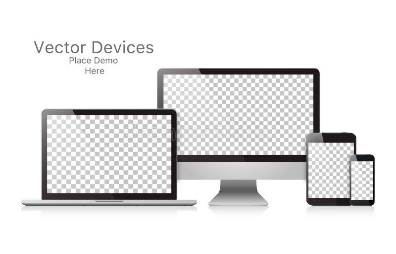 Καθορισμένες ρεαλιστικές διανυσματικές συσκευές σε ένα άσπρο υπόβαθρο ελεύθερη απεικόνιση δικαιώματος