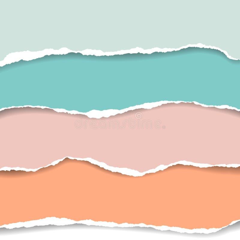 Καθορισμένες ρεαλιστικές σχισμένες απεικονίσεις λουρίδες του χρωματισμένου εγγράφου με το SH απεικόνιση αποθεμάτων