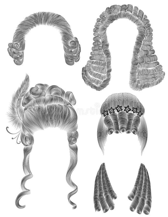 Καθορισμένες τρίχες γυναικών και ανδρών μαύρο σκίτσο σχεδίων μολυβιών η μεσαιωνική στυλ ροκοκό μπαρόκ περούκα ύφους κατσαρώνει ha διανυσματική απεικόνιση