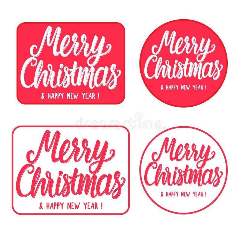 Καθορισμένες Χαρούμενα Χριστούγεννα και καλή χρονιά τυπογραφίας γραμματοσήμων σημαδιών ορθογώνιος και στρογγυλός Συρμένη χέρι επι διανυσματική απεικόνιση