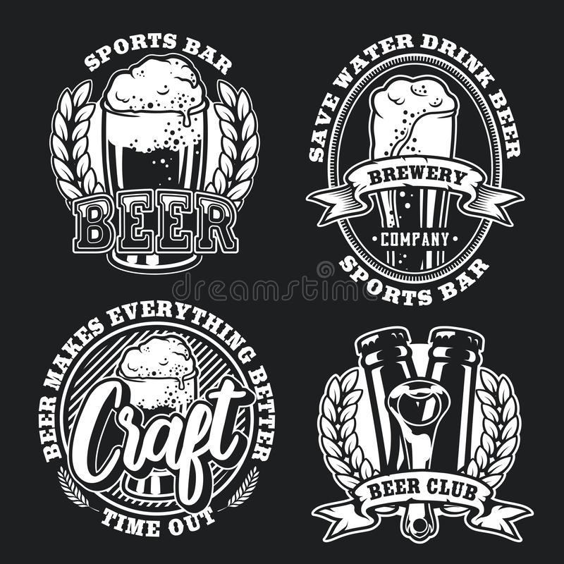 Καθορισμένη απεικόνιση της μπύρας στο σκοτεινό υπόβαθρο ελεύθερη απεικόνιση δικαιώματος
