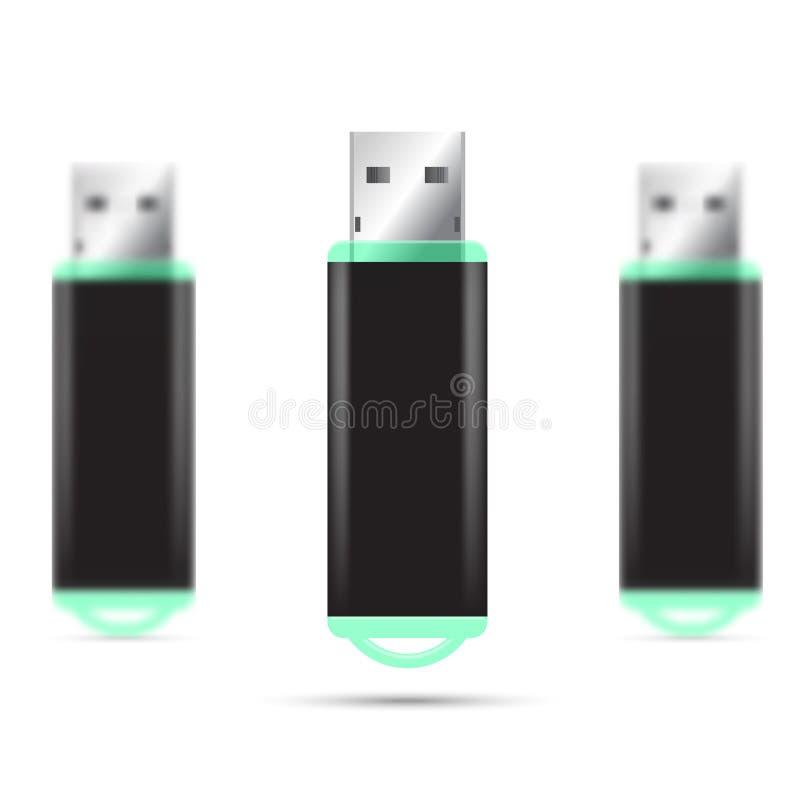 Καθορισμένη απεικόνιση Drive λάμψης USB στοκ εικόνες