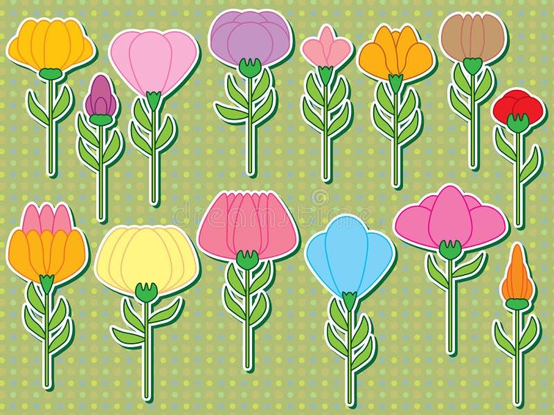 Καθορισμένη αυτοκόλλητη ετικέττα μίσχων λουλουδιών απεικόνιση αποθεμάτων