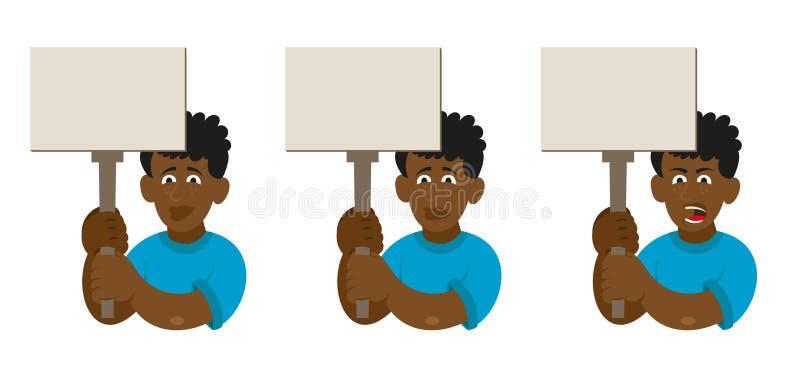 Καθορισμένη αφρικανική διαμαρτυρία ατόμων διανυσματική απεικόνιση