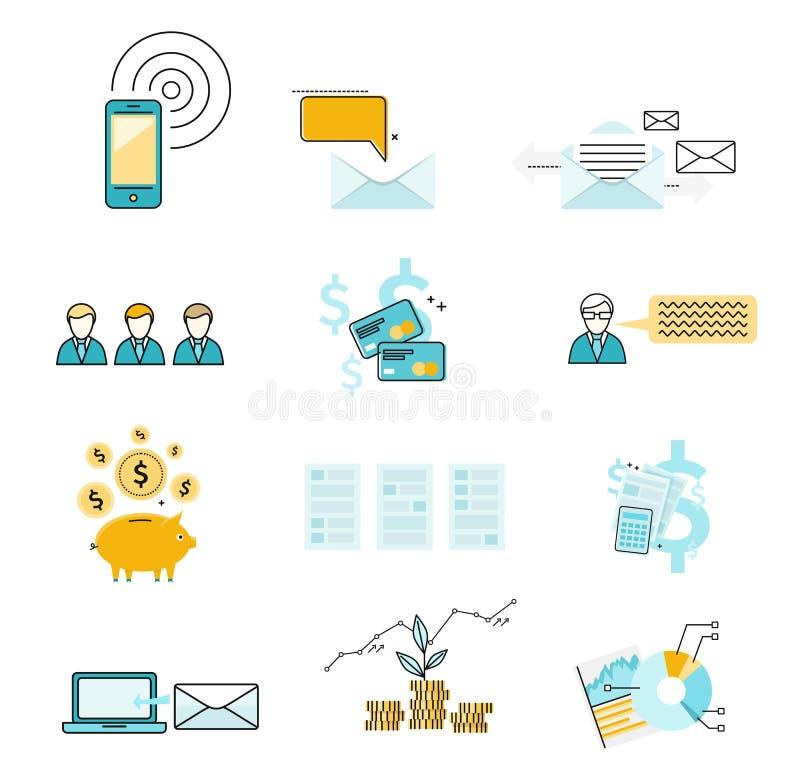 Καθορισμένη αλληλογραφία διαπραγμάτευσης επένδυσης εικονιδίων απεικόνιση αποθεμάτων