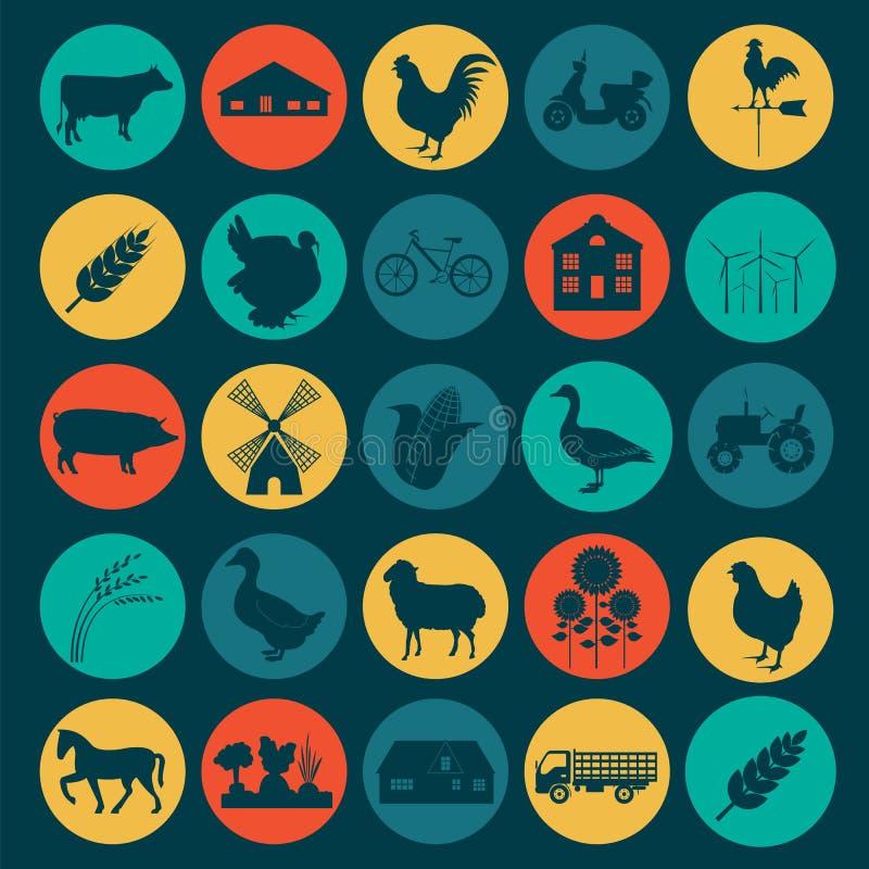 Καθορισμένη γεωργία, εικονίδια κτηνοτροφικής παραγωγής ελεύθερη απεικόνιση δικαιώματος