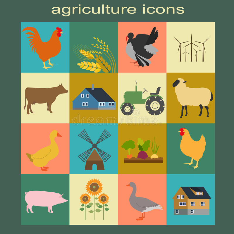 Καθορισμένη γεωργία, εικονίδια κτηνοτροφικής παραγωγής διανυσματική απεικόνιση