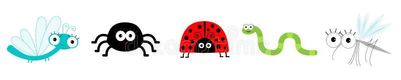 Καθορισμένη γραμμή εντόμων Ladybug, λιβελλούλη, κουνούπι, αράχνη και σκουλήκι r : E απεικόνιση αποθεμάτων