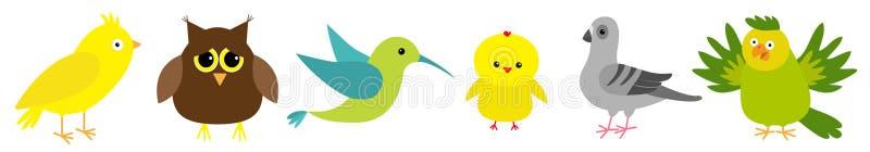 Καθορισμένη γραμμή πουλιών Colibri, καναρίνι, παπαγάλος, περιστέρι, περιστέρι, κουκουβάγια, κοτόπουλο Χαριτωμένο εικονίδιο χαρακτ διανυσματική απεικόνιση