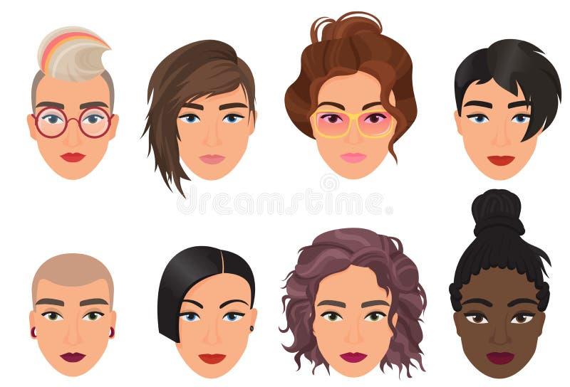 Καθορισμένη διανυσματική απεικόνιση ειδώλων γυναικών θηλυκή Σύγχρονο multiethic όμορφο πορτρέτο νέων κοριτσιών με τη διαφορετική  διανυσματική απεικόνιση
