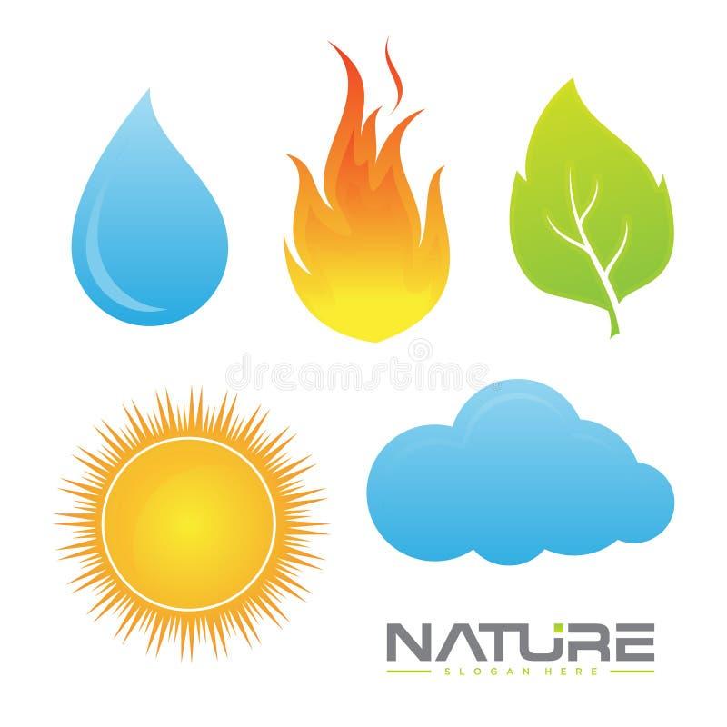 Καθορισμένη διανυσματική απεικόνιση των στοιχείων σχεδίου συμβόλων φύσης διανυσματική απεικόνιση
