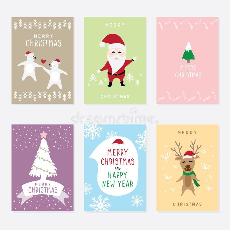 Καθορισμένη διανυσματική γραφική κάρτα κινούμενων σχεδίων για τη Χαρούμενα Χριστούγεννα και καλή χρονιά ελεύθερη απεικόνιση δικαιώματος