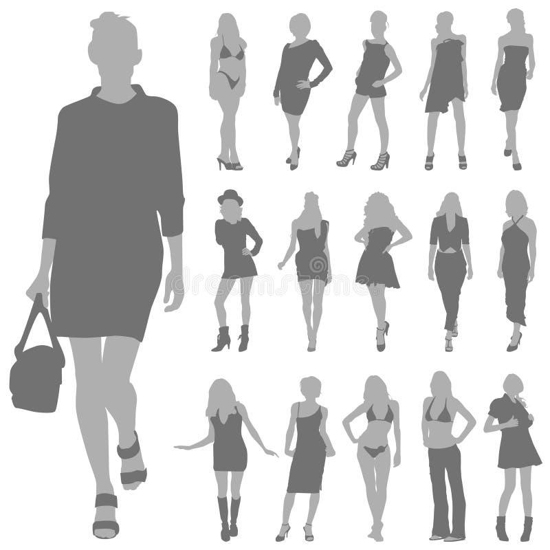 καθορισμένη διανυσματική γυναίκα μόδας απεικόνιση αποθεμάτων