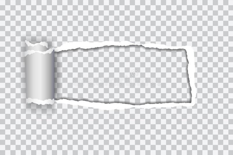 Καθορισμένη διανυσματική ρεαλιστική απεικόνιση του διαφανούς σχισμένου εγγράφου με στοκ εικόνα