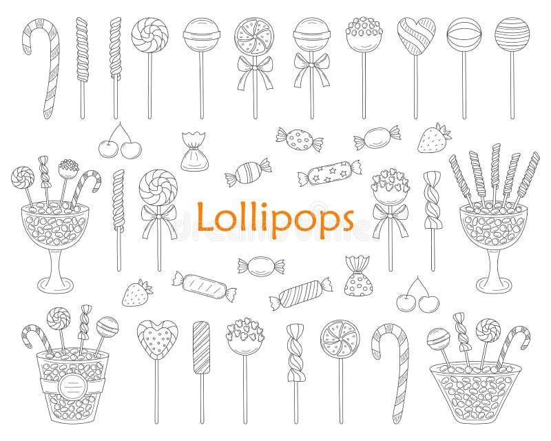 Καθορισμένη διανυσματική συρμένη χέρι doodle απεικόνιση Lollipop απεικόνιση αποθεμάτων
