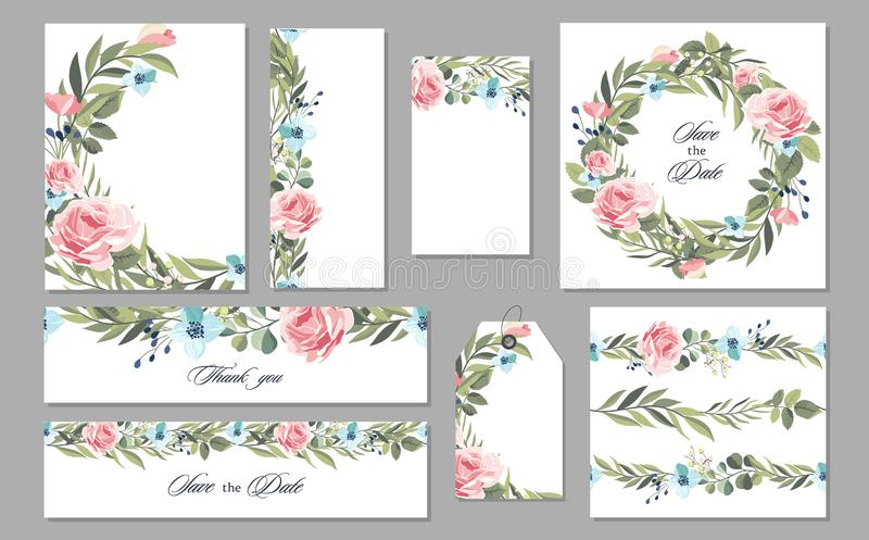 Καθορισμένη εκλεκτής ποιότητας κάρτα γαμήλιας πρόσκλησης με τα λουλούδια και τα φύλλα διάνυσμα απεικόνιση αποθεμάτων