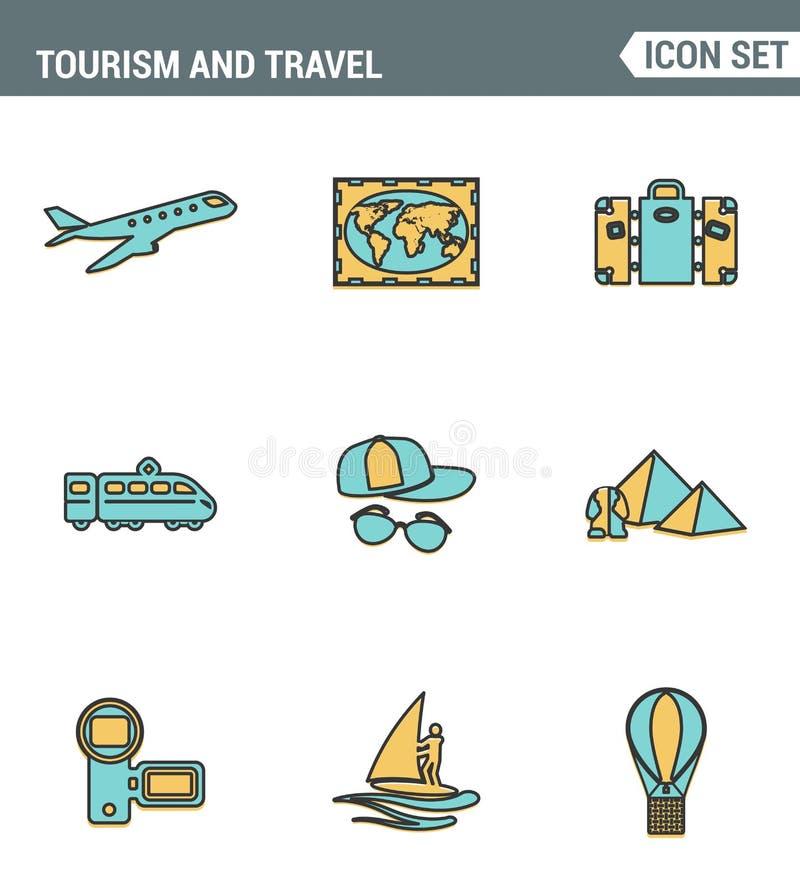 Καθορισμένη εξαιρετική ποιότητα γραμμών εικονιδίων της μεταφοράς ταξιδιού τουρισμού, ταξίδι για να προσφύγει ξενοδοχείο Σύγχρονο  απεικόνιση αποθεμάτων