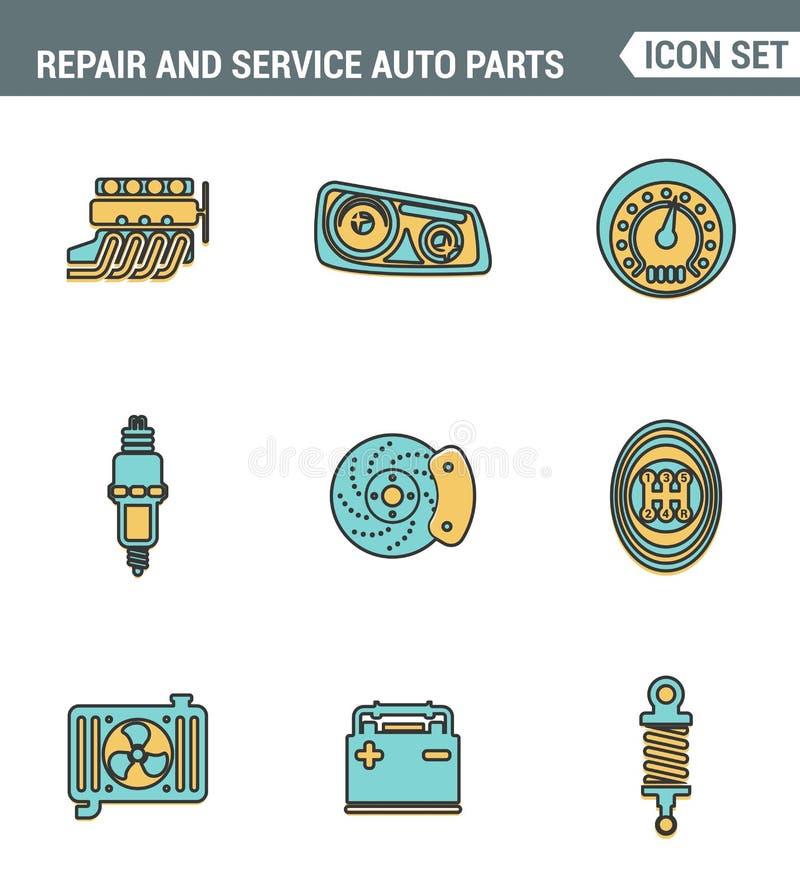 Καθορισμένη εξαιρετική ποιότητα γραμμών εικονιδίων του αυτοκίνητου γκαράζ εργαλείων μερών αυτοκινήτου επισκευής και υπηρεσιών Σύγ διανυσματική απεικόνιση