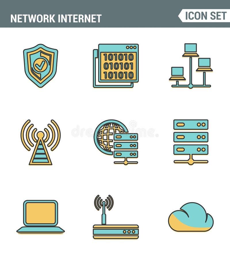 Καθορισμένη εξαιρετική ποιότητα γραμμών εικονιδίων του δικτύου υπολογισμού σύννεφων, τεχνολογία στοιχείων Διαδικτύου Σύγχρονο εικ διανυσματική απεικόνιση