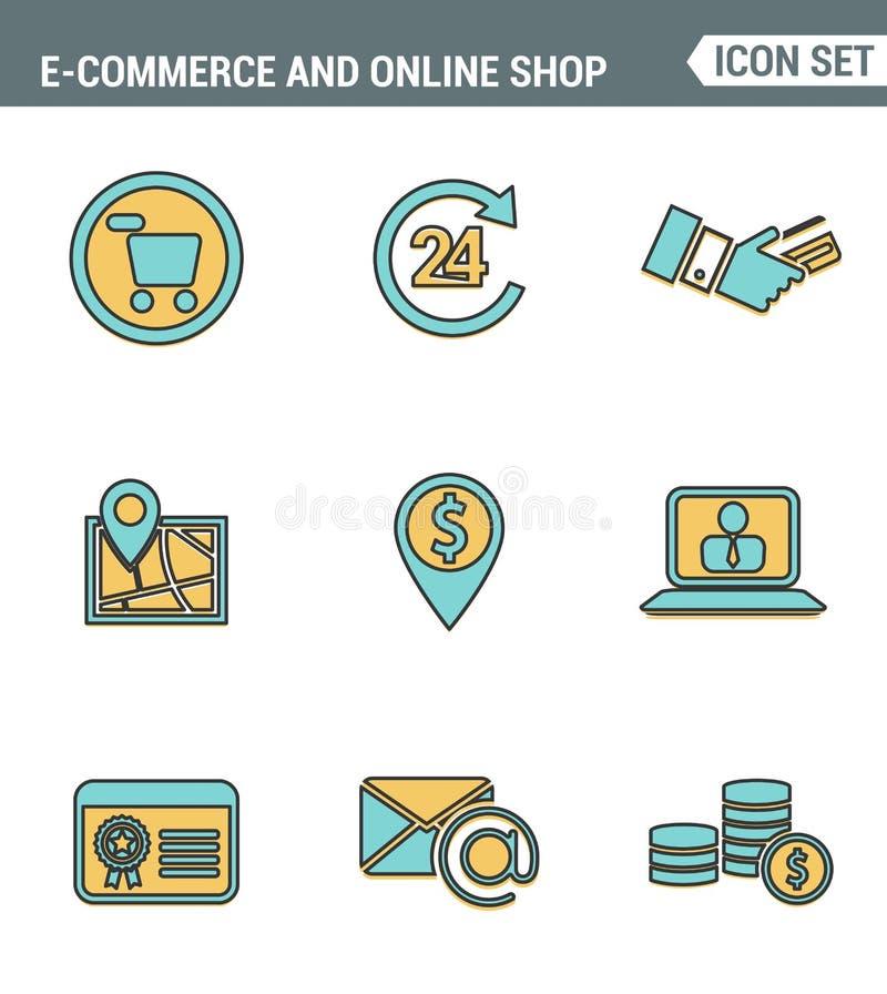 Καθορισμένη εξαιρετική ποιότητα γραμμών εικονιδίων του συμβόλου αγορών ηλεκτρονικού εμπορίου, των σε απευθείας σύνδεση στοιχείων  ελεύθερη απεικόνιση δικαιώματος