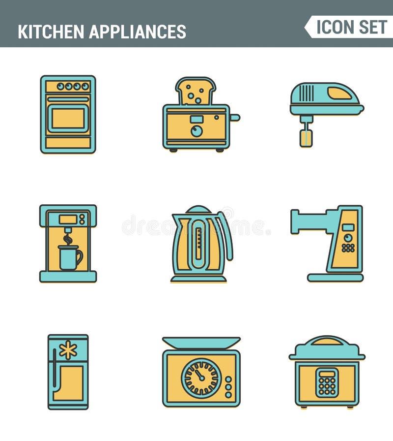 Καθορισμένη εξαιρετική ποιότητα γραμμών εικονιδίων των εργαλείων κουζινών, των οικιακών εργαλείων και του επιτραπέζιου σκεύους Σύ ελεύθερη απεικόνιση δικαιώματος