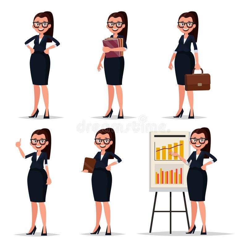 Καθορισμένη επιχειρηματίας, γραμματέας ή δάσκαλος χαρακτήρα Busin χαμόγελου διανυσματική απεικόνιση
