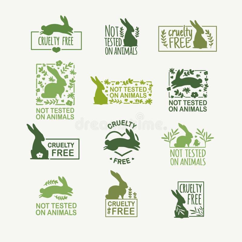 Καθορισμένη ζωική σκληρότητα λογότυπων ελεύθερη Σημάδι με το κουνέλι σκιαγραφιών και το λουλούδι και το φύλλο φύσης Σχέδιο stapm  απεικόνιση αποθεμάτων