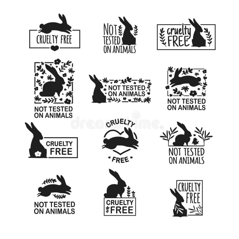 Καθορισμένη ζωική σκληρότητα λογότυπων ελεύθερη Σημάδι με το κουνέλι σκιαγραφιών και το λουλούδι και το φύλλο φύσης Σχέδιο stapm  διανυσματική απεικόνιση