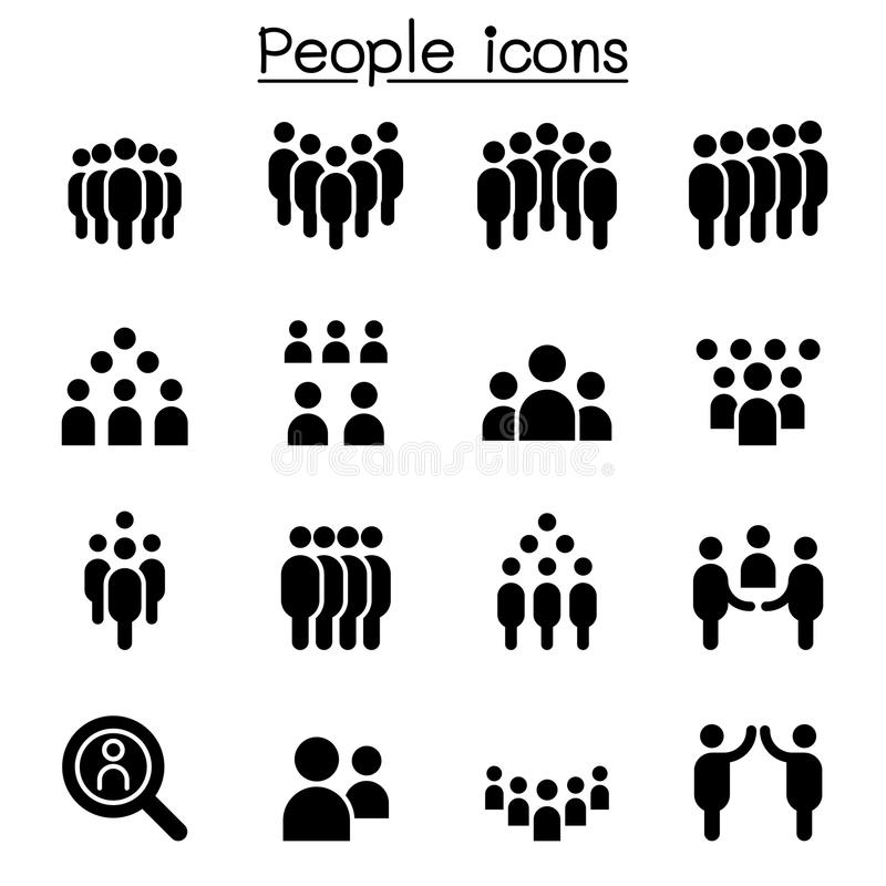 Καθορισμένη διανυσματική απεικόνιση εικονιδίων ανθρώπων διανυσματική απεικόνιση