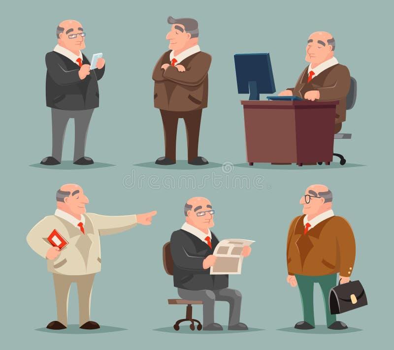 Καθορισμένη διανυσματική απεικόνιση σχεδίου κινούμενων σχεδίων χαρακτήρα ατόμων επιχειρηματιών μεγάλη κύρια ενήλικη παλαιά απεικόνιση αποθεμάτων