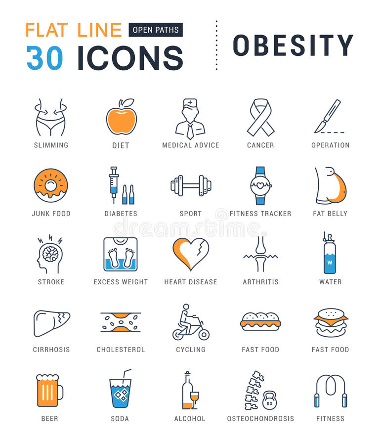 Καθορισμένη διανυσματική επίπεδη παχυσαρκία εικονιδίων γραμμών ελεύθερη απεικόνιση δικαιώματος