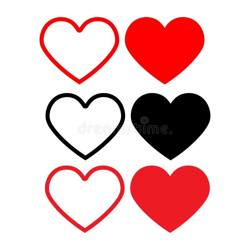 Καθορισμένη καρδιά εικονιδίων Στοιχεία σχεδίου για την ημέρα του βαλεντίνου ελεύθερη απεικόνιση δικαιώματος