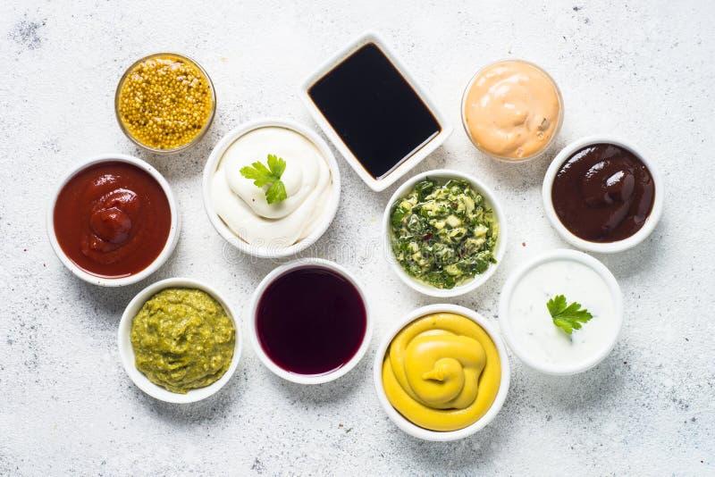 Καθορισμένη κατάταξη σάλτσας - μαγιονέζα, μουστάρδα, κέτσαπ και άλλα ο στοκ εικόνες με δικαίωμα ελεύθερης χρήσης