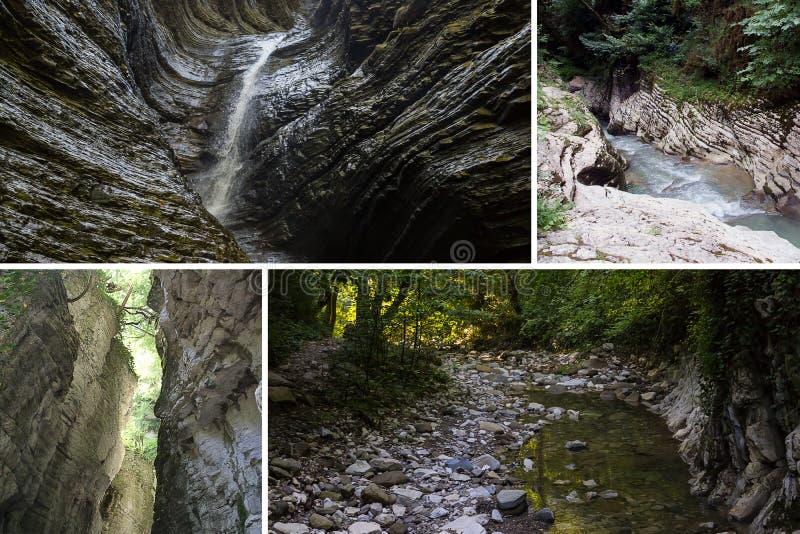 Καθορισμένη κολάζ άγριας φύσης αναψυχής φαραγγιών δασική βουνών ποταμών ηλιόλουστη ημέρα περιπάτων καταρρακτών ενεργός στοκ εικόνα