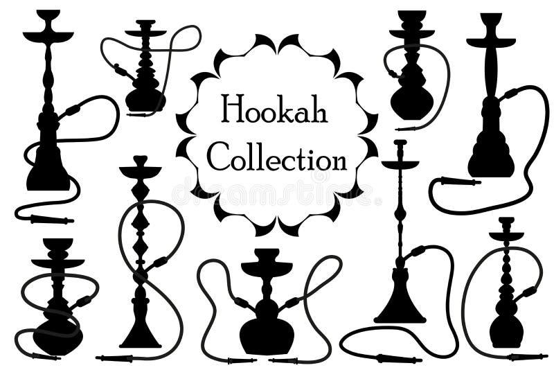 Καθορισμένη μαύρη σκιαγραφία εικονιδίων Hookah, ύφος περιλήψεων Αραβική συλλογή hookahs των στοιχείων σχεδίου, λογότυπο Απομονωμέ απεικόνιση αποθεμάτων