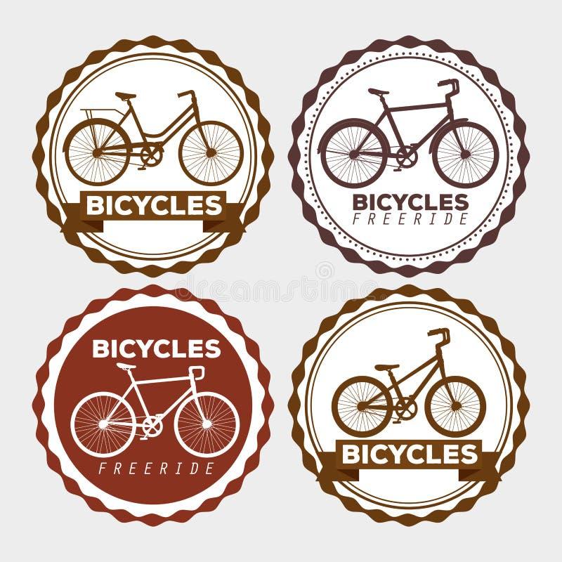 Καθορισμένη μεταφορά σχεδίου εμβλημάτων ποδηλάτων διανυσματική απεικόνιση