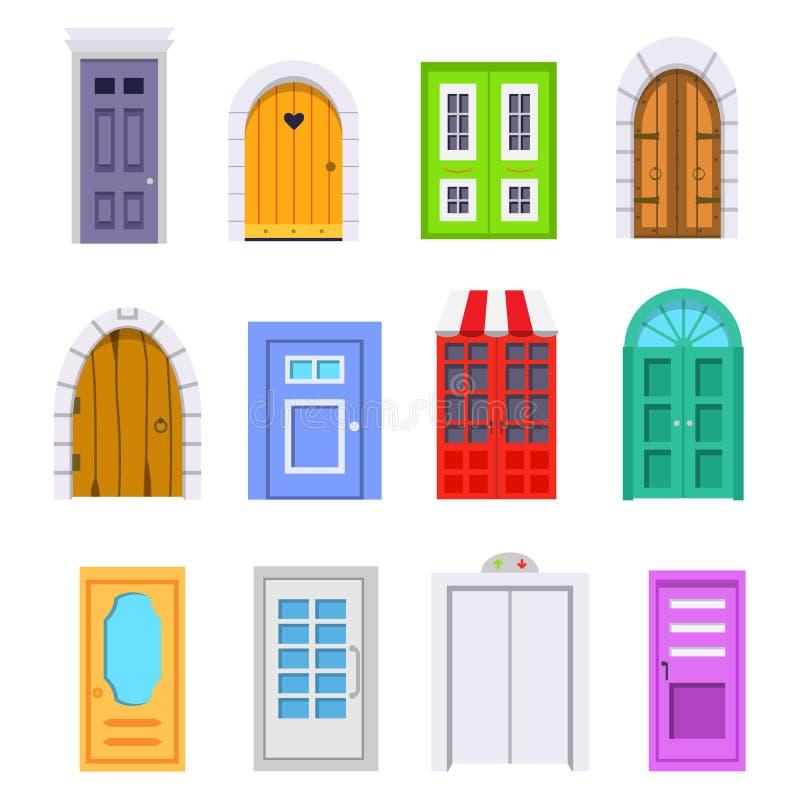 Καθορισμένη μπροστινή άποψη πορτών εισόδων διανυσματικό στοιχείο σπιτιών και κτηρίων στο ύφος κινούμενων σχεδίων διανυσματική απεικόνιση