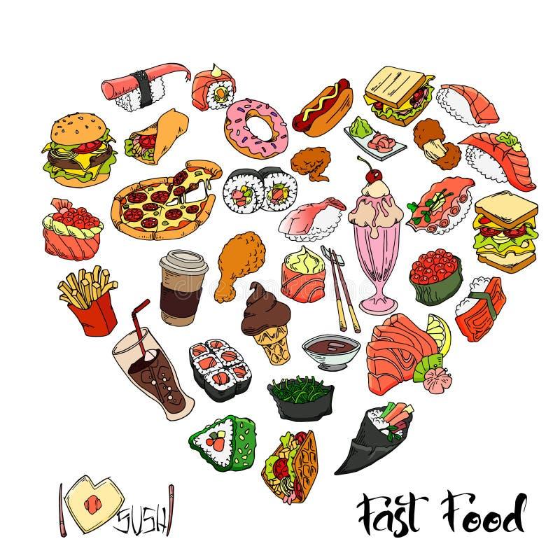 Καθορισμένη περίληψη τροφίμων και ποτών Συρμένα χέρι γρήγορο φαγητό και σούσια r στοκ εικόνες με δικαίωμα ελεύθερης χρήσης