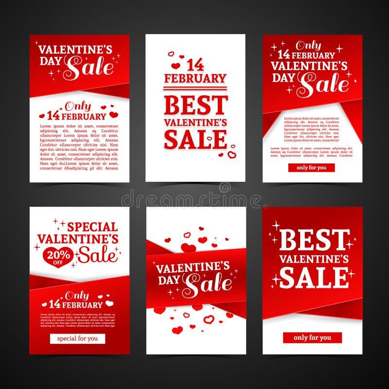 Καθορισμένη προτύπων κάρτα ημέρας βαλεντίνων ` s σχεδίου ευτυχής Τιμή συλλογής με την ταινία κόκκινου χρώματος και την ειδική πώλ απεικόνιση αποθεμάτων