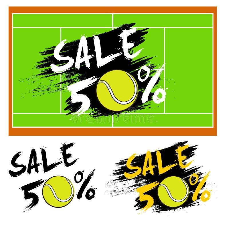 Καθορισμένη πώληση εμβλημάτων 50 τοις εκατό με τη σφαίρα αντισφαίρισης διανυσματική απεικόνιση
